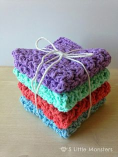 5 Little Monsters: Blossom Stitch Crochet Washcloths