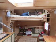 "Modified Teardrop ▲ putting the ""living room"" under the loft makes cozy sense 