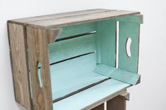 You could easily create your own and paint inside colour to match your room or just leave it. I think it looks super quirky and cute. Plus a create way to have jazz up your storage space/shelves 😻😊 Storage Boxes, Storage Shelves, Shelving, Crate Storage, Furniture Projects, Diy Furniture, Refurbished Furniture, Wood Projects, Apple Crates