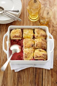 Honey Rhubarb Cobbler—The cool springs and summers of the Yukon result in an abundance of rhubarb. Combined with wild fireweed honey, rhubarb shines in this comfort-dessert classic. Frozen rhubarb also works well; run it under cold water to thaw completely, and drain well before using.