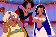 Aladdin Jafar and Sultan #genderbender ...Jafar kind of looks like Bea Arthur....