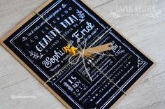 Caixa Rústica: Convite Chalk 〰 Inove com a Caixa Rústica e surpreenda convidados!  ∴ Solicite seu orçamento! www.caixarustica.com  #convite #kraft #casamento #rustico #invitation #rustic #wedding #papelaria #vintage #chalkboard #chalk #blackboard #quadro #giz #floral #boho