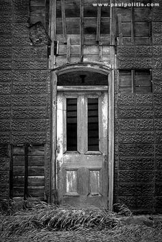 Doorway to Abandoned House - Black and White Photograph: Abandoned Places Gallery