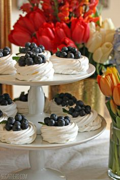Blueberry Pavlovas - mini meringues with whipped cream and fresh blueberries. A perfect spring dessert!- Spring nests with spring berries Spring Desserts, Mini Desserts, Just Desserts, Delicious Desserts, Tea Recipes, Sweet Recipes, Dessert Recipes, Recipies, Mothers Day Desserts