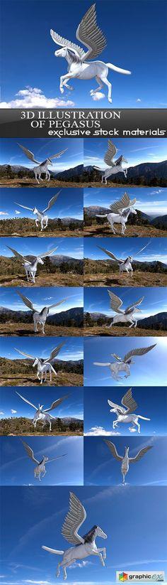 3D illustration of pegasus 15 x UHQ JPEG  stock images