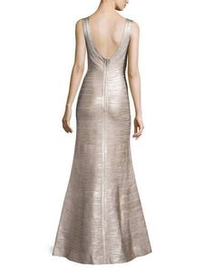 Herve Leger Sleeveless Metallic Bandage Gown, Rose Gold