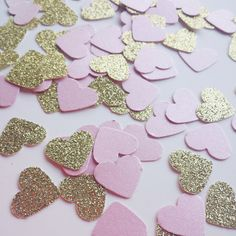 Gold and Pink Confetti Blush Pink Baby Shower Wedding Decor - http://www.babyshower-decorations.com/gold-and-pink-confetti-blush-pink-baby-shower-wedding-decor/