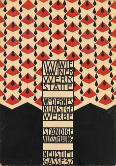 Original hand-stenciled poster by Josef Hoffmann, announcing the opening of the first Weiner Werkstätte showroom in Vienna, 1905.