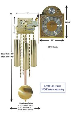 Mechanical Clock Kits - Build a Grandfather Clock with Ease : Clockworks Grandfather Clock Kits, Grandmother Clock, Mechanical Wall Clock, Wall Clock Kits, Chain Drive, Clock Movements, Wood Sticks, Polished Brass, Wind Chimes