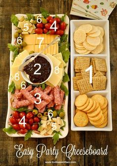 Like the presentation Easy Party Cheeseboard - simple ingredients, big flavor! WMS Garden Party Easy Party Cheeseboard numbered with cheese, crackers, etc. Party Hosting Tips and Ideas Take a look at this Easy Party Cheeseboard Idea. Party and Hosting Tip Snacks Für Party, Appetizers For Party, Appetizer Recipes, Summer Appetizer Party, Christmas Cocktail Party Appetizers, Party Food Hacks, Easy Christmas Appetizers, Girls Night Appetizers, Italian Appetizers Easy