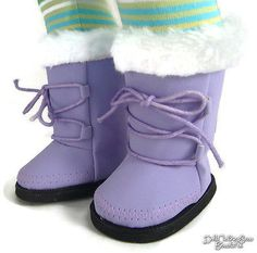 Lavender-Boots-Shoes-W-Fur-Trim-made-for-18-American-Girl-Doll-Clothes