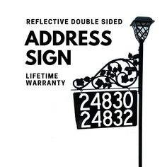 Reflective Metal Address Sign - Mothers Day Gift for Yard so 911 and others to find you Address Signs For Yard, Address Numbers, Driveway Markers, Mailbox Makeover, Street Names, Home Landscaping, Solar Lights, Mother Day Gifts, Finding Yourself
