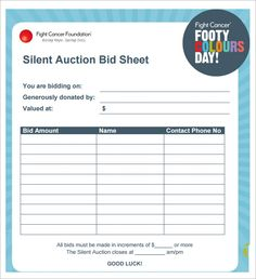 silent auction bid sheet template 29 free word excel pdf