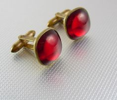 Blood Red Victorian Cufflinks Vintage Gold Rhinestone Jewel Several Pat Numbers wedding tuxedo accessory