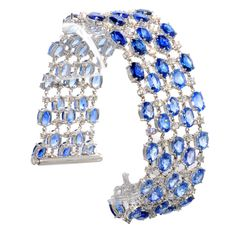 Sapphire and Diamond Bracelet | From a unique collection of vintage chain bracelets at http://www.1stdibs.com/jewelry/bracelets/chain-bracelets/