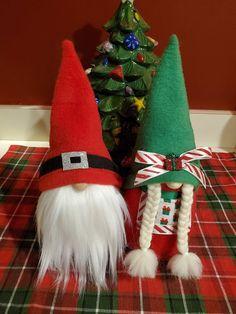 This adorable set of Mr and Mrs Santa Gnomes are all decked out and ready for the Christmas season! Christmas Applique, Christmas Gnome, Christmas Items, Christmas Crafts For Kids, Christmas Projects, Christmas 2019, Winter Christmas, Holiday Crafts, Christmas Decorations
