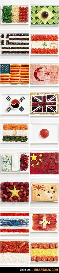 Banderas hechas con comida. ¿Podrías adivinar por los alimentos utilizados de que países se tratan? Fun thing to share with my students!