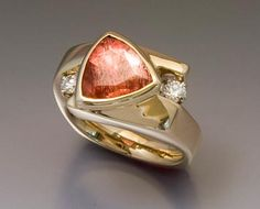 14k gold with Oregon sunstone and diamond ring by Trios' Studio
