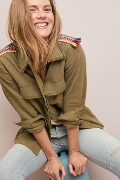 Embroidered Utility Jacket | Anthropologie