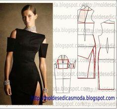 TRANSFORMAÇÃO MOLDE DE VESTIDO Desenhe o molde base, manga, frente e costas. Desenhe uma linha no meio frente para a rotação da pinça/pence. Copie para pap
