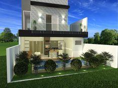 CS - 0027 projeto-planta-casa-sobrado-arquitetura-moderna-180-metros-terreno-8x25 (6) Cs, Future House, Mansions, House Styles, Home Decor, Stairs, Exterior, Ideas, New Houses