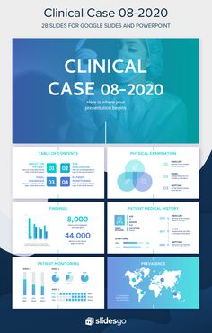 Use our modern medical template for Google Slides and PowerPoint and present a clinical case in a clear manner Np School, Healthcare Careers, Medical Pictures, Internal Medicine, Microsoft Powerpoint, Slide Design, Medical History, Nurse Life, Presentation Templates