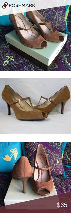 "Franco Sarto Fiera suede t-strap heels Beautiful tan suede peep-toe pumps with tan patent T-straps. Gold side buckle. 3 1/2"" heel. Brand new in box. Franco Sarto Shoes"