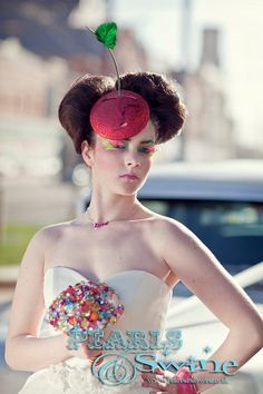 Cherry Fascinator Red Glitter Hat Pop Surreal by PearlsandSwine, £55.00