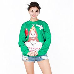 Womens Sweatshirt Funny Printed Ugly Christmas Pattern Emoji Cute Sweater M LW 325 -- To view further for this item, visit the image link.(This is an Amazon affiliate link)