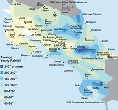 Map showing average yearly rainfall by region in Costa Rica