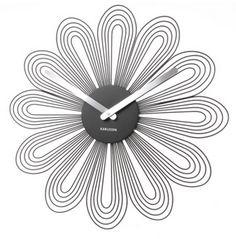 Wand Klok 52 cm Petals Karlsson chique zwart