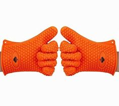 Heat Resistant Kitchen Cooking Gloves By BeSafe - Ideal For BBQ Grilling & Oven Baking - Premium Quality FDA Approved Silicone Gloves - Waterproof & Stain Resistant - Indoor & Outdoor Use - Orange