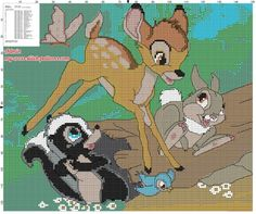 Bambi the rabbit Thumper and the skunk Flower free cross stitch pattern (click to view)