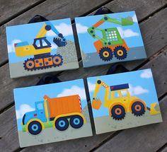 Set of 4 Bright Contruction Truck Boys Bedroom 8x10 Stretched Canvases Kids Playroom Baby Nursery CANVAS Bedroom Wall Art