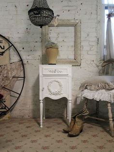 Painted Cottage Chic Shabby White NIght by paintedcottages on Etsy, $160.00