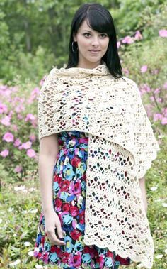 10 free #crochet shawl patterns on Craftsy - white crochet shawl