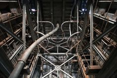 looking up at curved pipes, powerplant 1