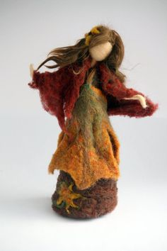 Waldorf Inspired Needle Felted Autumn Maiden Fairy for Nature Table-Made to Order 2019 Waldorf Inspired Needle Felted Autumn Maiden Fairy for Nature Natural Fall Decor, Felt Angel, Needle Felting Tutorials, Felt Fairy, Nature Table, Waldorf Dolls, Waldorf Crafts, Fairy Dolls, Wet Felting