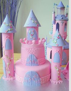 Little girl's castle birthday cake. So Adorable.