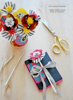 DIY Fabric Flower Pushpins + DIY Desk Accessories | made with fabric from @Waverly