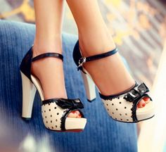 Lena sweet gentlewomen rhinestone bow thick heels shoes. So cute.