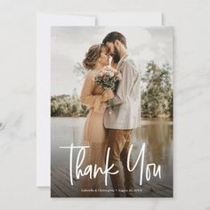 Modern Simple White Script Overlay Wedding Photo Thank You Card - Personalize this modern, simple, photo wedding thank you cards with your favorite picture from your special day. Customize the names, date, special message to make it your own. Reconnect with your guests and send your appreciation for their generosity and support. Photo Thank You Cards, Thank You Postcards, Custom Thank You Cards, Wedding Thank You Cards, Wedding Themes, Wedding Colors, Wedding Photos, Hand Lettering Styles, Beautiful Wedding Invitations