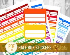 Half Box Printable Planner Stickers Printable by FleurStickers