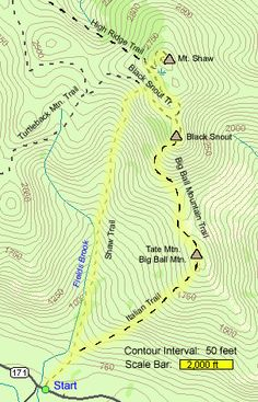 Map of hike route to Welch Mountain and Dickey Mountain map by