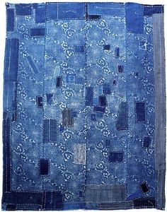 Katazome Indigo Boro Futon Cover (futongawa) - Early 1900's - 100% cotton hand-spun & hand loomed fabrics, 4 x 5.3 feet.  (via quilt-stuff)