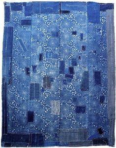 Indigo Katazome Boro Futon Cover (futongawa)  Early 1900's  100% cotton…
