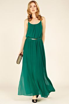 Pleated Belted Maxi Dress