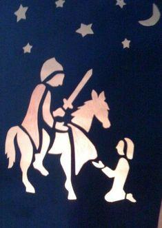 stencil for martinmas lanterns St Martin Of Tours, San Martin, Chalkboard Drawings, Chalk Drawings, Church Stage Design, Waldorf Crafts, Window Art, Silhouette, Art World