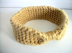 Child Sized Vintage Inspired Hand knitted Headband/Ear warmer in Mustard