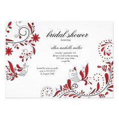 Vintage Love Birds on Branches Bridal Shower Custom Invitation